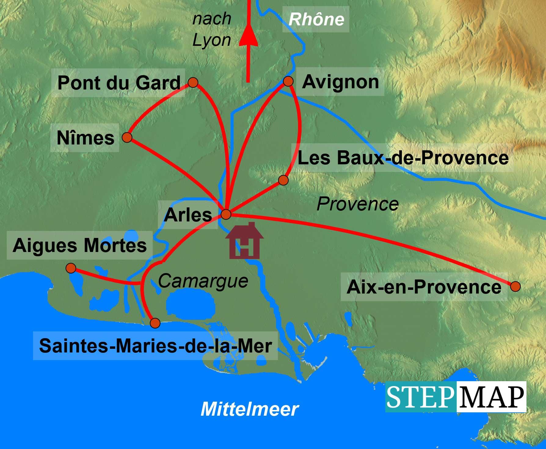 Camargue Karte.Provence Camargue
